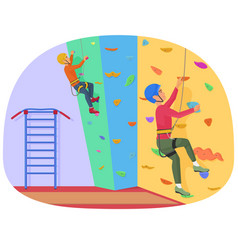 Two people climbing on a rock-climbing wall vector
