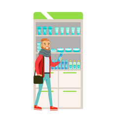 Hipster in scarf in pharmacy choosing and buying vector