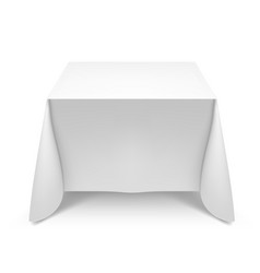 White square table with tablecloth on white vector