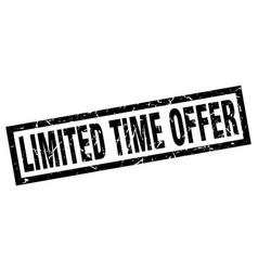 Square grunge black limited time offer stamp vector