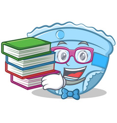 Student with book baby diaper character cartoon vector