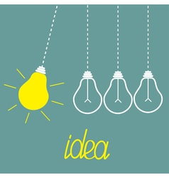 Hanging yellow light bulbs perpetual motion idea vector