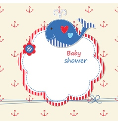 Baby shower with cute whale 2 vector