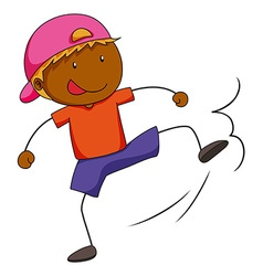 Boy doing kicking action vector