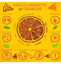 Orange health benefits vector