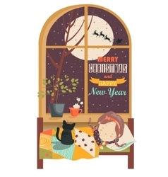 Little girl sleeping by the windowchristmas eve vector