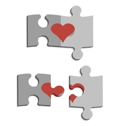 Puzzles and heart vector