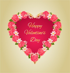 Valentines day red heart with pink roses vector