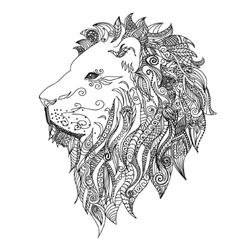 Lion mehndi tattoo doodles style vector