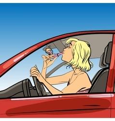 woman driver paint lipstick vector image