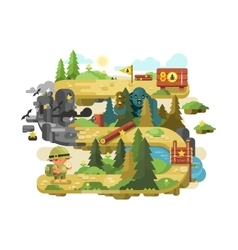 Adventure on a forest trail flat design vector