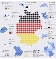 Dot and flag map of germany infographic design vector