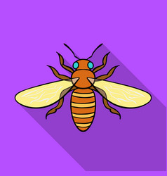 bee icon in flat style isolated on white vector image vector image