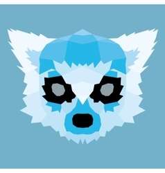 Blue low poly lemur vector
