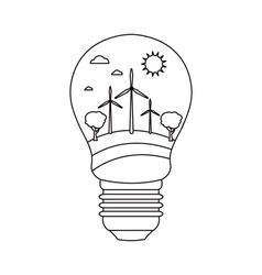 Bulb with wind power in style monoline vector