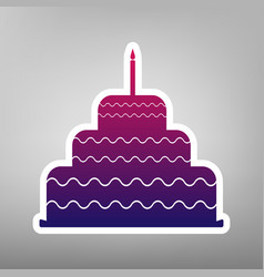 Cake with candle sign purple gradient vector