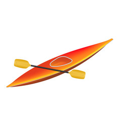 Canoe in orange design with paddle vector
