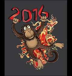 Chinese year of the Monkey with fire flames vector image vector image