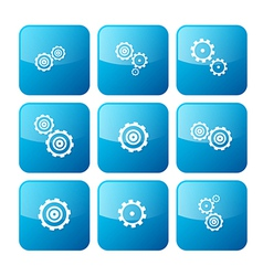 Cogs - Gears Blue Icons Set Isolated on White vector image vector image