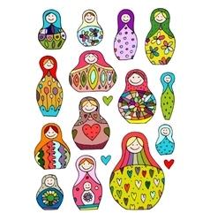 Collection of russian nesting dolls Matryoshka vector image
