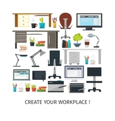 Create Interior Working Place Icon Set vector image