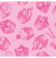 Cupcakes pink seamless pattern vector