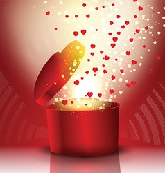 Exploding heart shaped gift box vector image vector image