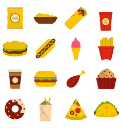 Fast food icons set in flat style vector