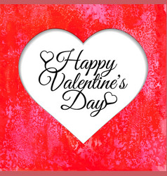 happy valentines day card with red watercolor vector image vector image