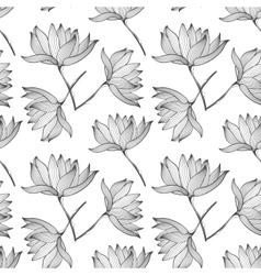 Lotus flowers seamless pattern vector