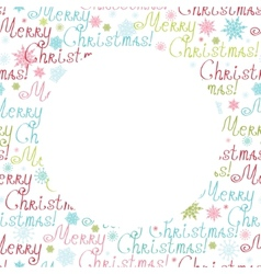 Merry christmas text circle frame seamless pattern vector