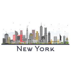 New york usa skyline with gray skyscrapers vector