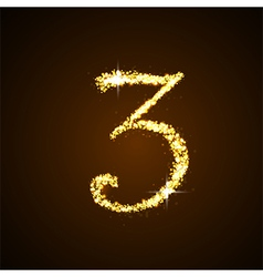 Number three of gold glittering stars vector image vector image