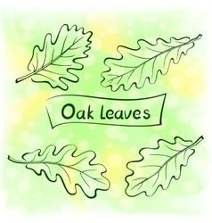 Oak leaves pictogram set vector
