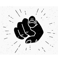 Retro black hand pointing finger vector image