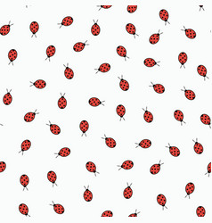 seamless pattern with ladybugs isolated on white vector image vector image