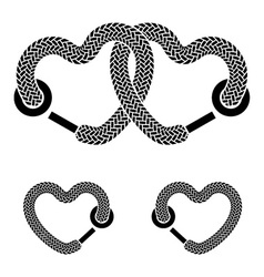 shoelace linked hearts black white symbols vector image vector image