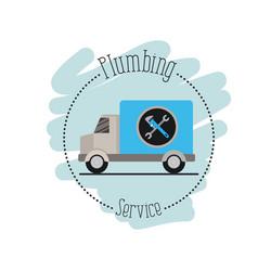 Sticker scene of vehicle car plumbing service vector