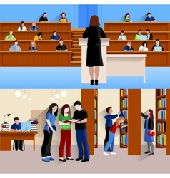 Students At University Horizontal Banners vector image
