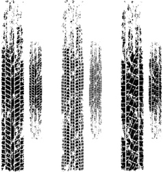 Tire tracks grunge set vector image