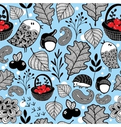 Winter seamless pattern with cute animals vector
