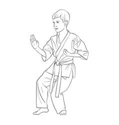 Young karate boy vector