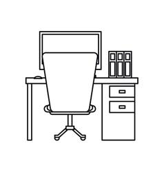 Pictogram worplace desktop computer books chair vector