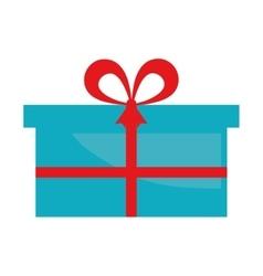 blue gift box present ribbon vector image