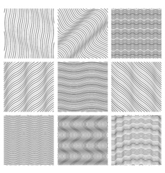 Geometric wavy pattern set Curved lines streep vector image