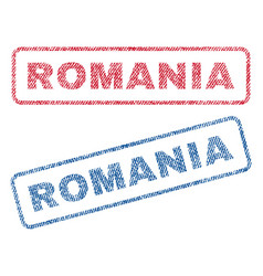 Romania textile stamps vector