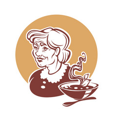 portrait of lovely grandmother and home made soup vector image