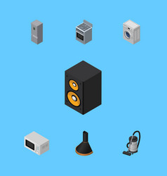 Isometric electronics set of microwave music box vector