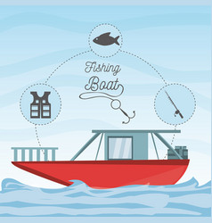Boat over sea with fishing equipment vector