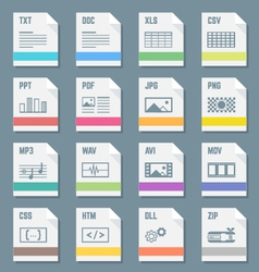 File formats icons set with vector
